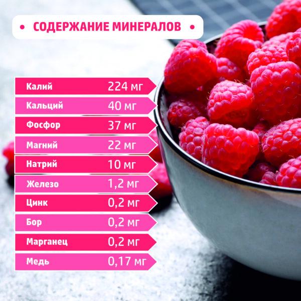 Содержание минералов в малине